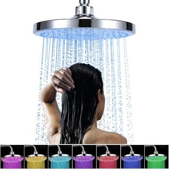 8 Inch 20cm * 3 Colors Changing Water Powered Rain Led Shower Head Without Arm Bathroom Temerpature Automatic