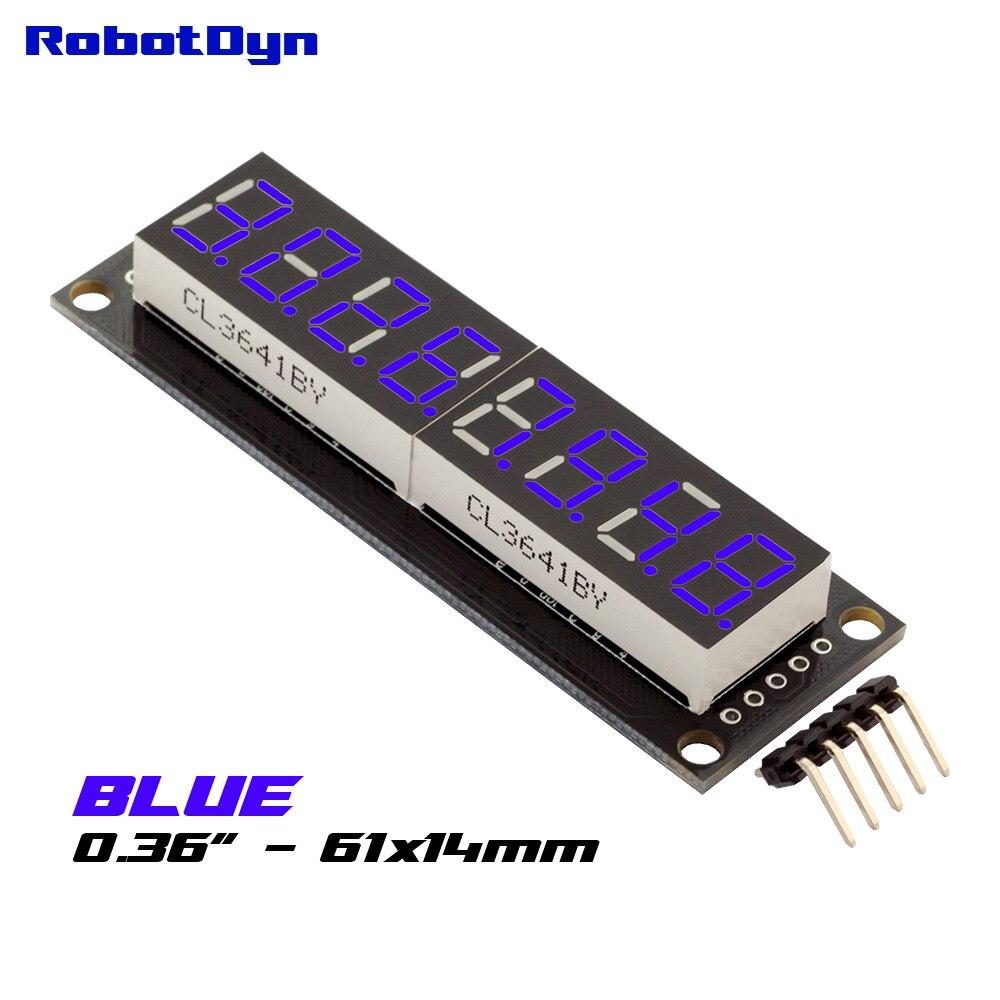 8-Digit LED 0.36 Display Tube (decimal), 7-segments BLUE color, 74HC595, disp. size 61x14mm8-Digit LED 0.36 Display Tube (decimal), 7-segments BLUE color, 74HC595, disp. size 61x14mm