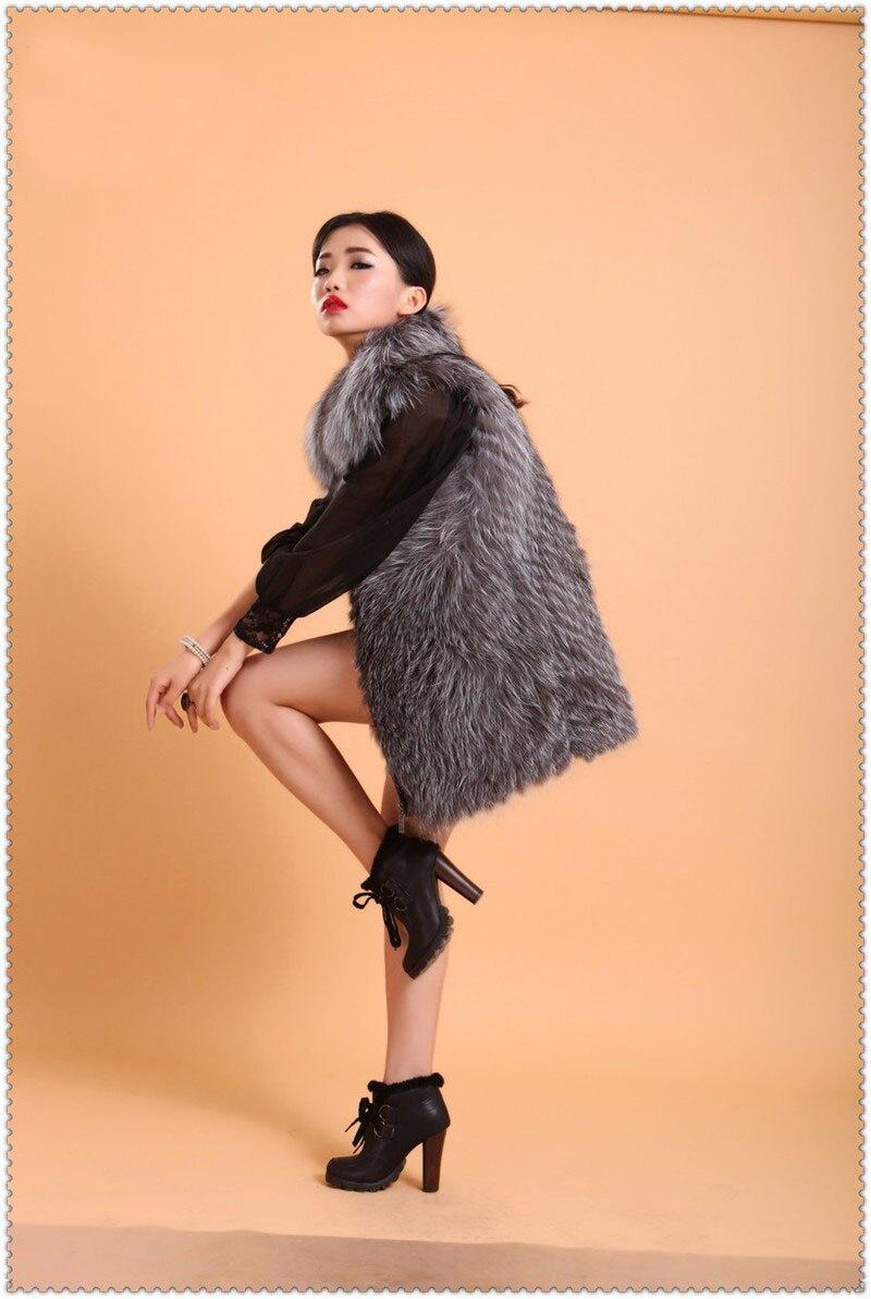 Toghter Gris Silver Femmes Hiver Gilet M14823 Chaud Cm Fox Pour Les 65 Cousu Naturel Fourrure De Longueur Bande Couleur 7qpBOw
