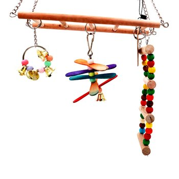 Parrot Toys Birds Ladders Wood Parakeet Toy Parrot Swings Wood Bridge Ladders Perches Stand for Small Birds Cage Accessories