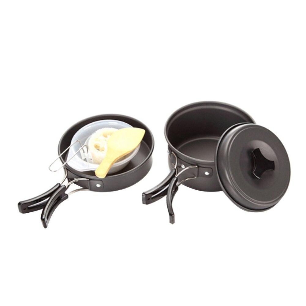 8 PCS Haute Qualité Portable Non-bâton Pots Casseroles Bols Camping En Plein Air Randonnée Cuisson Ensemble Cookwares 1-2 peuples