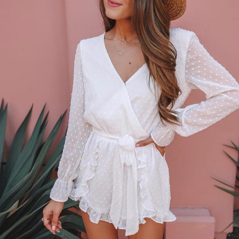 2019 nueva moda verano sexy blanco señoras suelta mono Oficina señora manga larga cuello en V gasa mamelucos