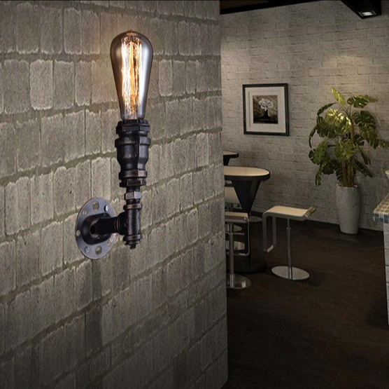 American Loft Style Metal Water Pipe Lamp Edison Wall Sconce Retro Wall Light Fixtures For Home Vintage Industrial Lighting retro loft style industrial vintage wall lamp edison wall sconce 2 lights water pipe wall light fixtures home lighting e27 bulb
