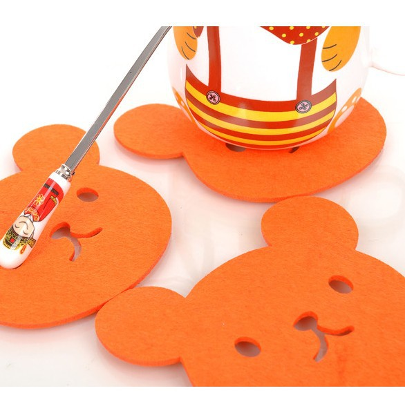 12*10cm Cute Orange Bear Felt Cloth Cup Coaster Absorbent Coffee Cup Placemat Pad Fashion Dinnerware 50pcs/lot SH058