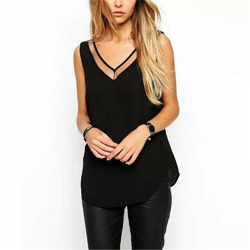 New Fashion Women Casual Sleeveless Vest Tank Tops Loose Chiffon Shirt Blouse