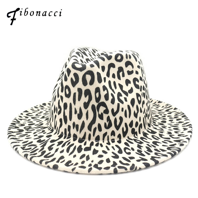 Fashion Leopard Printing Jazz Men Women Unisex Vintage Trilby Cap Fedora Hats Flat Top Leisure Big Brim Felt Panama Hat