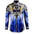 Люксовый Бренд Рубашки для Мужчин 2016 Мода Печатные Тонкий Рубашки С Длинным Рукавом для Мальчиков Сорочка Homme Случайный Camisas Hombre