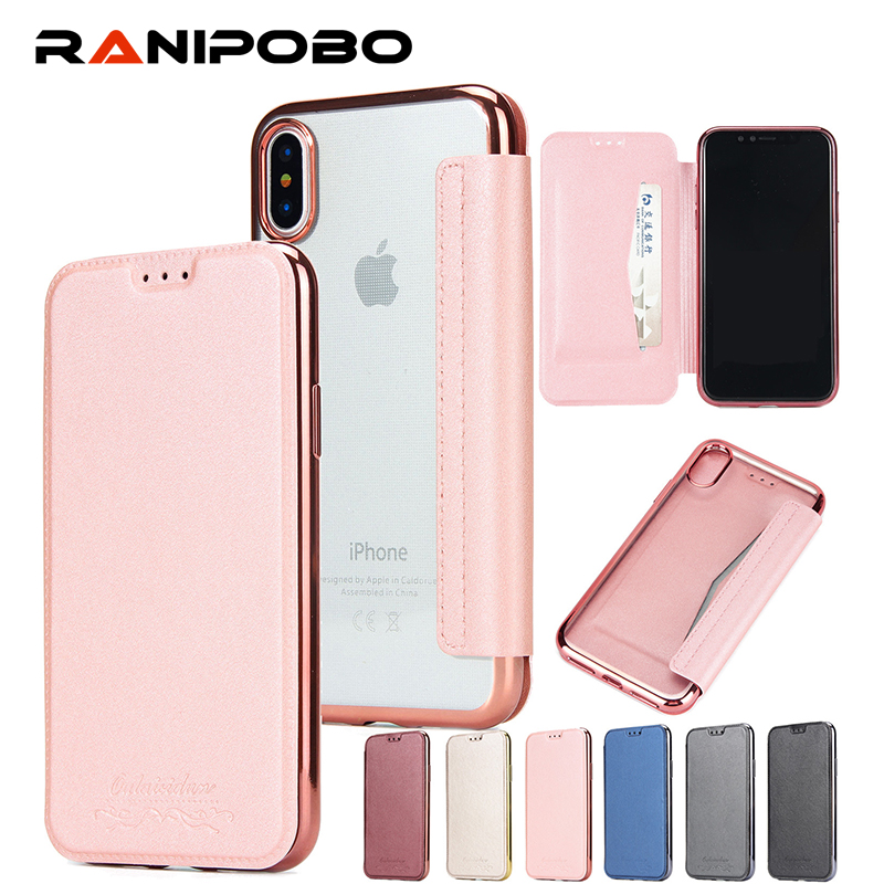 Luxury Electroplate Wallet Flip Leather Case For iPhone X Soft TPU+PU Transparent Cover With Stand Case for iPhoneX