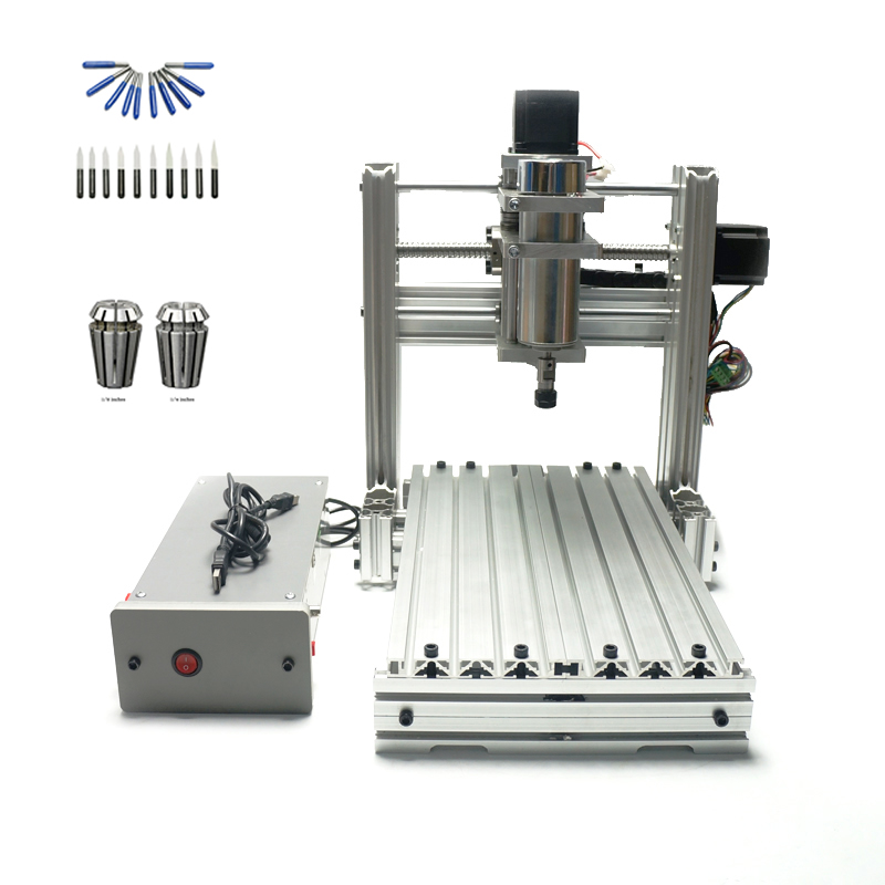 CNC 3020 metal Diy mini wood router 400W spindle Pcb drilling machine with free cutter er11 collet ebsd image