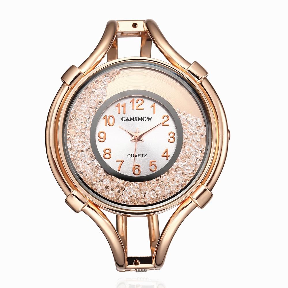 Luxury Brand Fashion Stainless Steel Black Gold & Silver Band Quartz Watch Ladys Women Simple Watch Girl Friend Gift Cuff Bangle