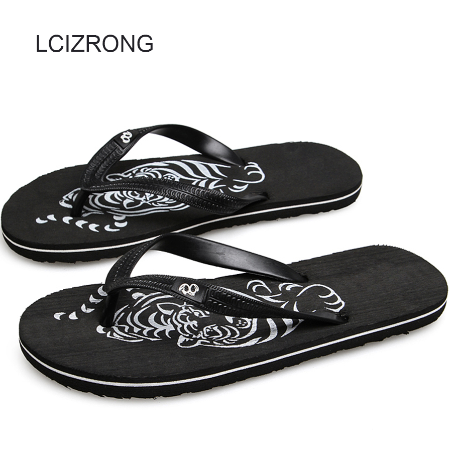 LCIZRONG Summer Tiger Men Flip Flops 40-44 Size Animal Beach Flat Slippers Male Fashion High Quality Non-slip Flip Flops Wedge цена и фото