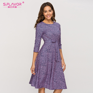 Image 1 - S.FLAVOR Casual Purple Floral Printed Women Dress Classic O neck Short A line Dress For Female Elegant 2020 Summer Vestidos