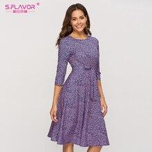 S.FLAVOR 캐주얼 퍼플 꽃 프린트 여성 드레스 클래식 o 넥 짧은 a 라인 드레스 여성 우아한 2020 여름 Vestidos