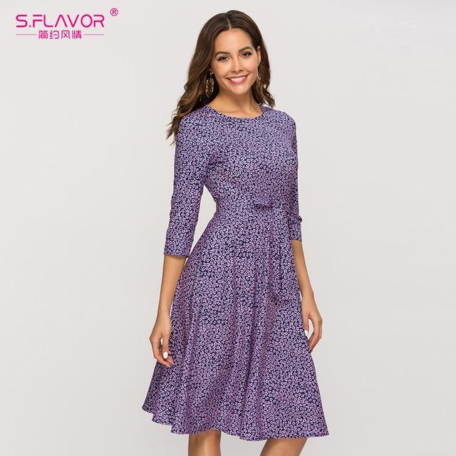 S. טעם מזדמן סגול פרחוני מודפס נשים שמלה קלאסי O צוואר קצר קו שמלה נשי אלגנטי 2020 קיץ Vestidos