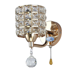 Image 3 - Sconce lamp AC85 265V pull chain switch crystal wall lamp lights Modern Stainless Steel Base lighting lamparas de pared