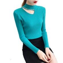 Idealark suéteres de invierno perla Beading suéter cálido de manga larga de  las mujeres Jersey mujer slim gris Jersey tire de JX. d65f958fe64a