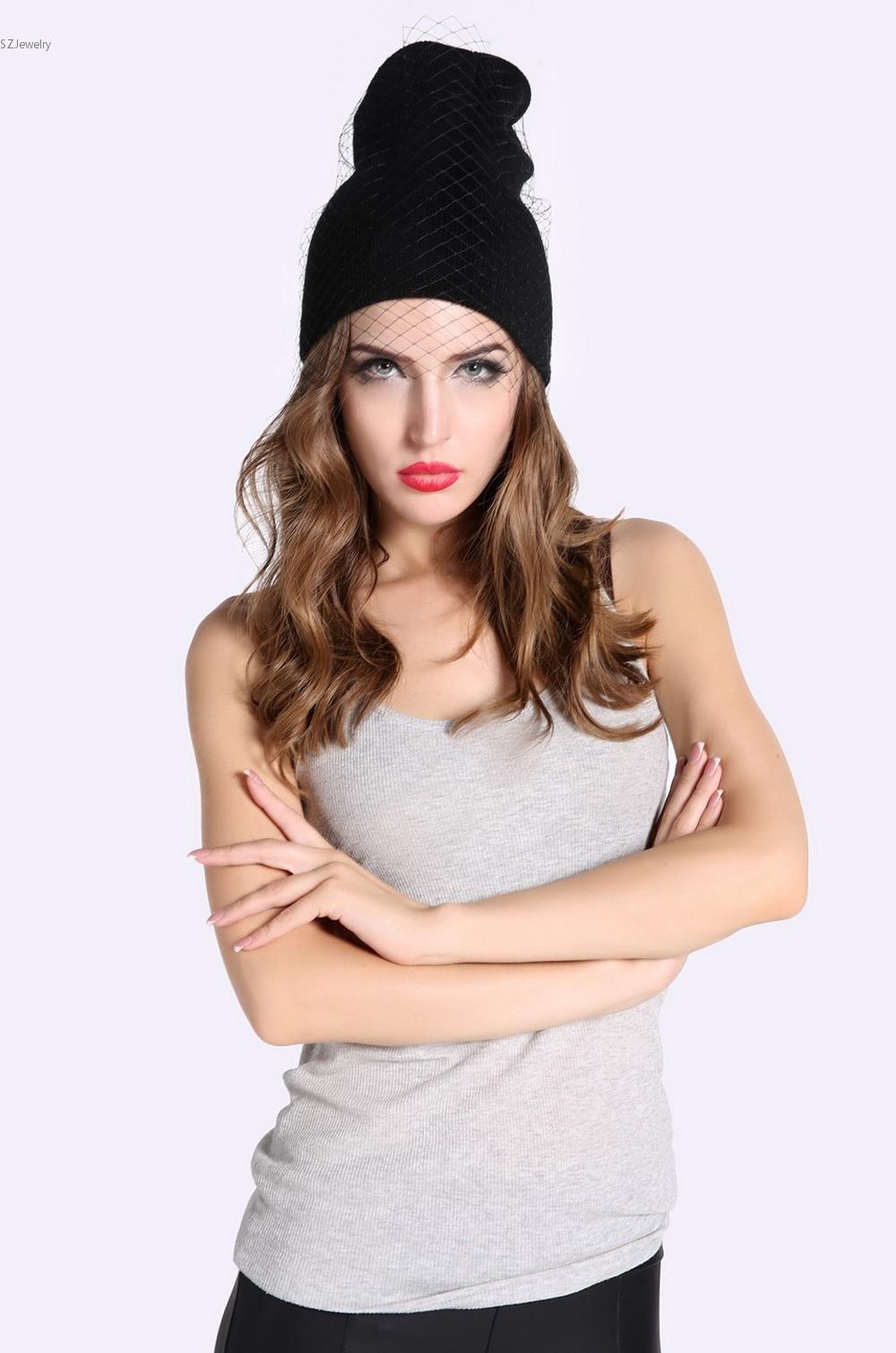 Newest UK style Veil Hats Womens Beanie Hat Touca Feminina Supermodel Street Snap Net Caps Winter Knitted