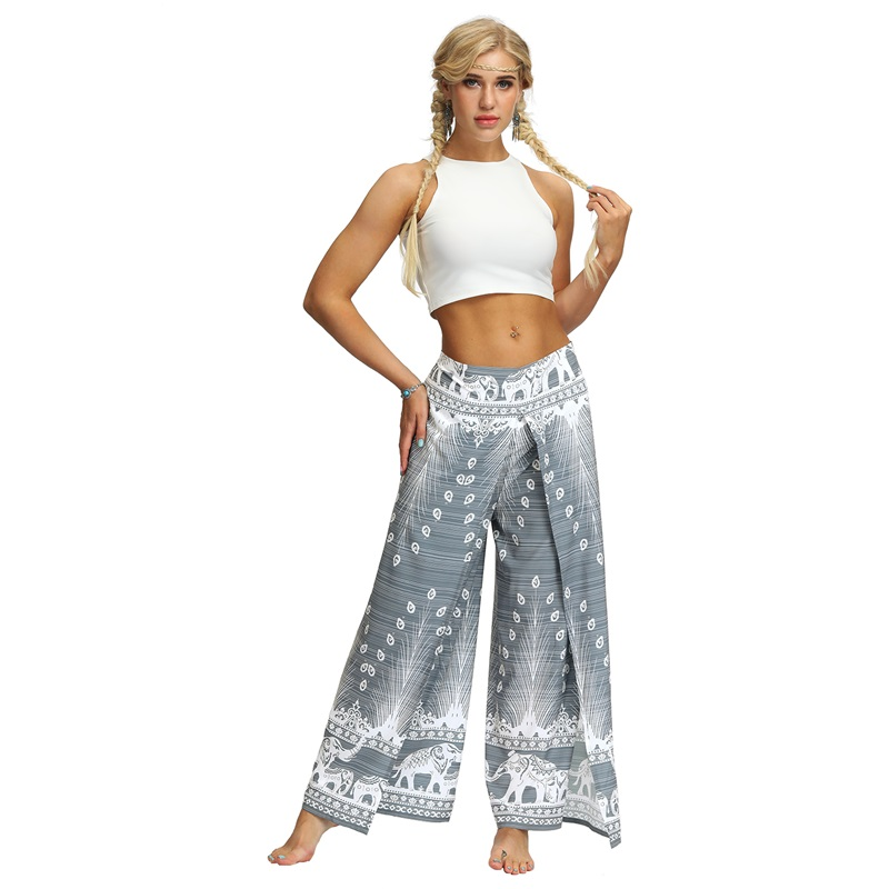 Split Boho Beach Print lady   wide     leg     pants   women Summer high waist trousers Chic streetwear casual   pants   female