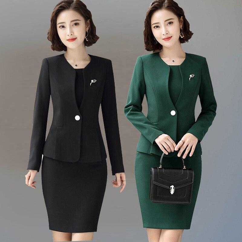 2b72198be54f4 Femenina 2018 de las mujeres vestido lleno Formal trajes chaqueta vestidos  formales para la Oficina señora señoras vestido chaqueta trajes conjunto en  ...