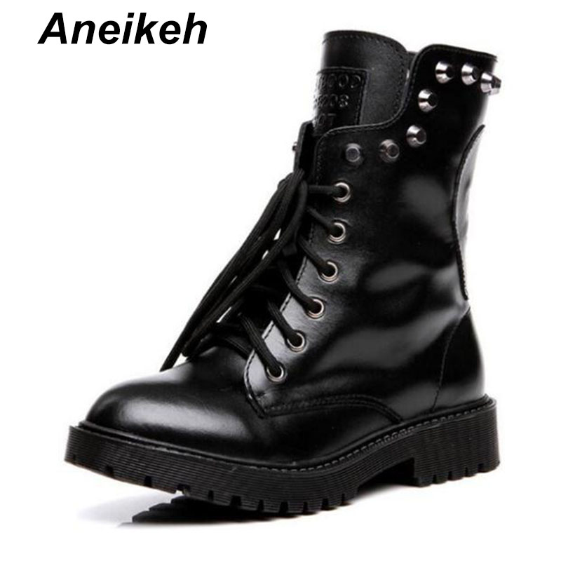 Aneikeh New 2018 Fashion Genuine Leather Boots 100% Ankle Boots Women Autumn Winter Martin Boots Lace Up Rivets Shoes