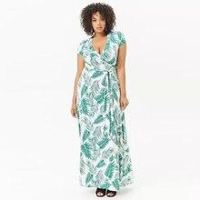 ba6b42b667b30e 5XL 6XL lato duży rozmiar długa sukienka sexy V neck drukuj 2019 plus size kobiety  sukienka