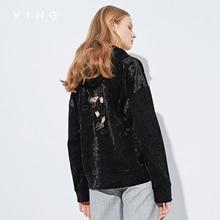 ヴィング2017秋新しい到着の女性パーカー刺繍光ベルベットスウェット緩いフル袖トップス