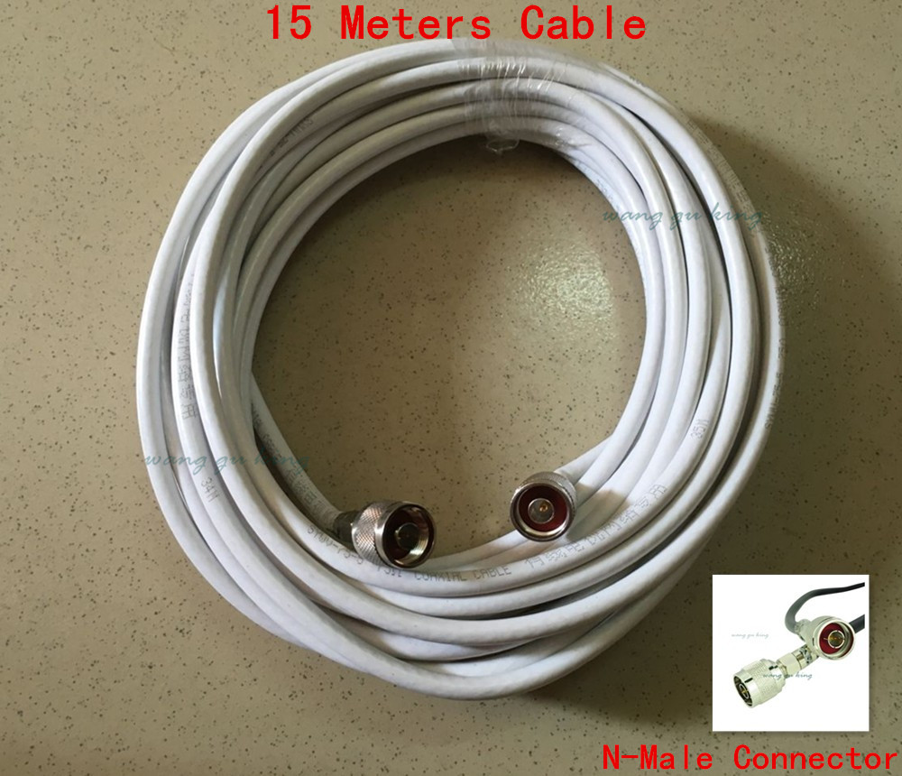 15 Meters Coaxial Cable 75ohm 75-5 With N Male Connector For Signal Booster / Repeater / Amplifier / Antenna / Power Splitter
