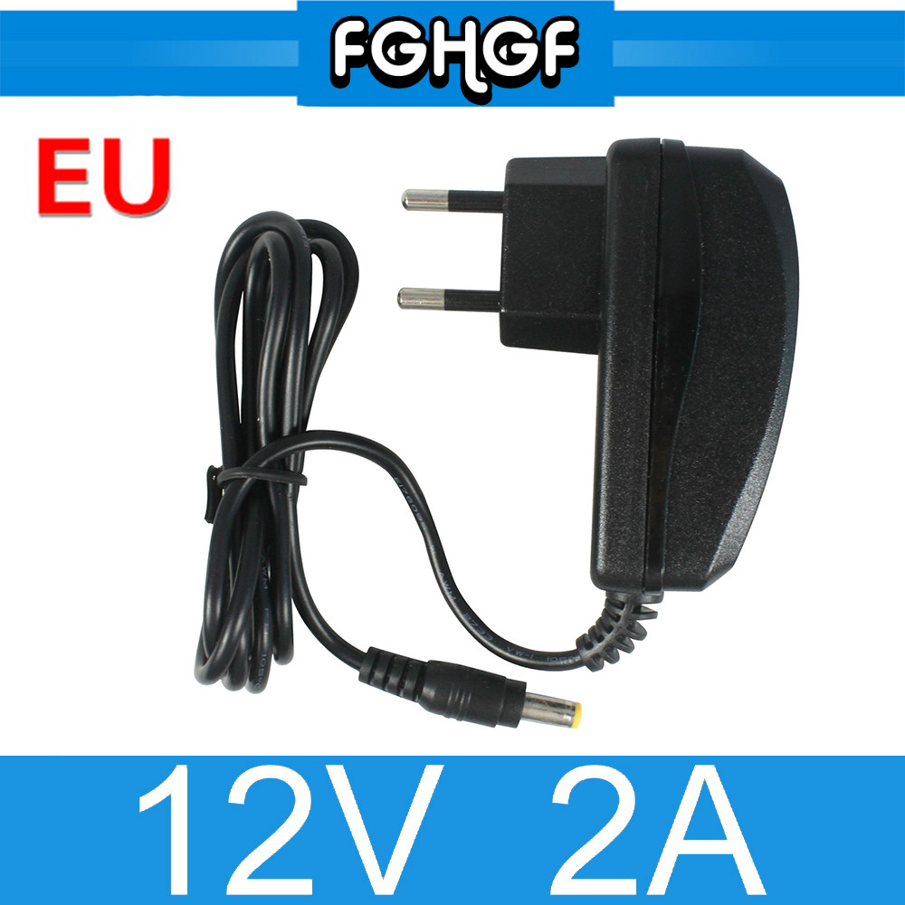 FGHGF 10PCS 12V2A AC 100V-240V Converter Adapter DC 12V 2000mA Power Supply EU Plug 5.5mm x 2.1-2.5mm for LED CCTV Camera Power xinfi 12v2a 1a ac 100v 240v power adapter dc connector dc 12v2a 1a 2000ma power supply eu us 5 5mm x 2 1 2 5mm for led cctv