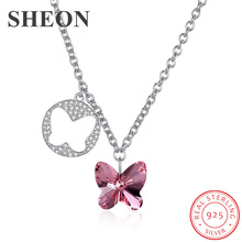 SHEON New arrival Luxury 925 Sterling Silver Dazzling Crystal Butterfly Pendant Necklaces for Women Jewelry