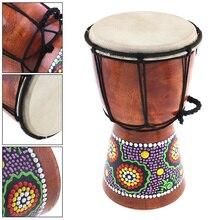 4 дюймов 6 дюймов Профессиональный Африканский Djembe барабан дерево козья кожа хороший звук традиционный музыкальный инструмент