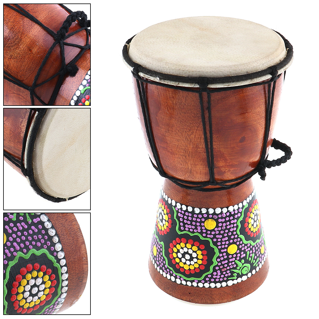 4 Inch Professional African Djembe Drum Wood Goat Skin Good Sound Traditional Musical Instrument
