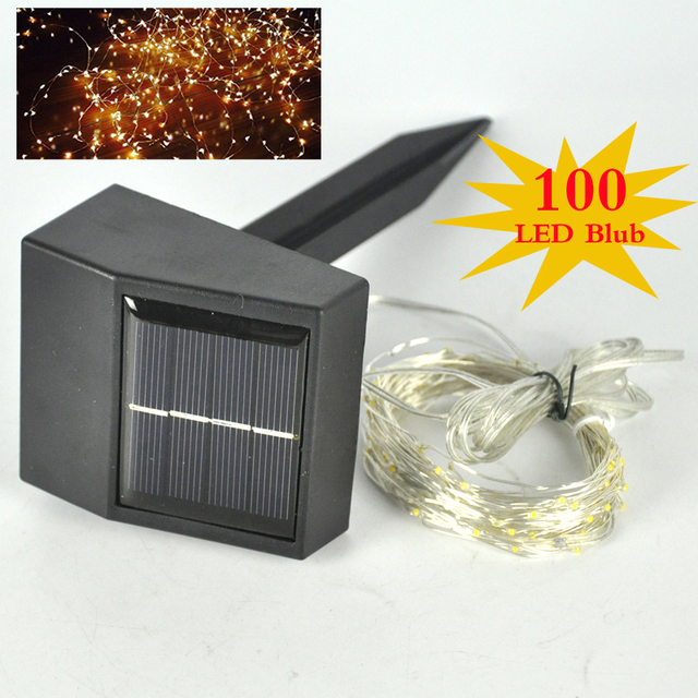 100 LED Solar Copper Wire String Lights Fairy Lighting Starry Wedding 12M Warm White Party Decoration Holiday LED Lamps