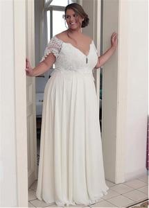 Image 3 - Unique Chiffon Jewel Neckline A line Plus Size Wedding Dresses With Beaded Lace Appliques Short Sleeves Bridal Gown