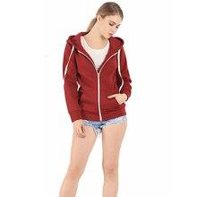 Ladies Winter Long Sleeve Hooded Sweatshirt Zip Coat Fleece Outwear Warm Jacket