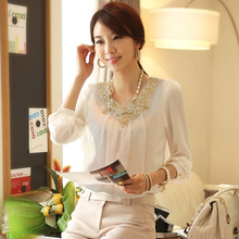 Long Sleeve Women Chiffon Shirt Large Size Fashion Blouse Thin Spring And Autumn Bottom Shirt Casual Solid Color Plus 5XL C285