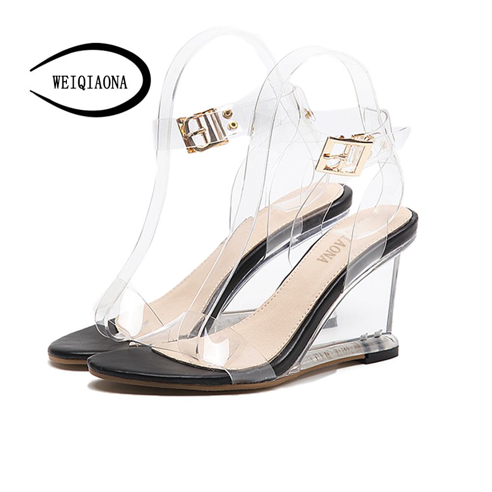 WEIQIAONA Dress Sandals Slippers Heels Jelly Transparent Wedges Open-Toe PVC 9CM Crystal