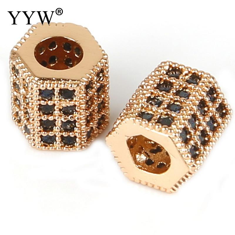 Yyw Metal Brass Micro Pave Crystal Cz Geometry Crown Leopard  Diy Bracelet Making Round Space Bead For Jewelry Gold Black Silver