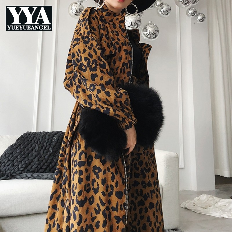 2019 New Autumn Leopard Print V-Neck Long   Trench   Coats Womens Loose Luxury Harajuku Windbreaker Female 2 Pieces Coat And Pants
