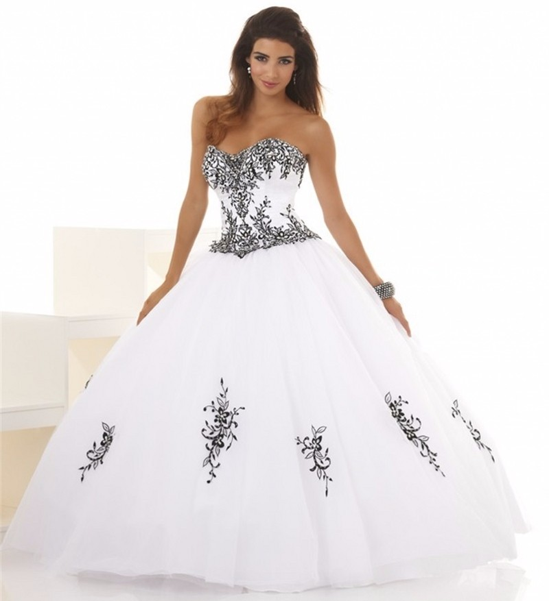 Black And White Wedding Gowns: Cheap Ball Gown Wedding Dresses Black And White Embroidery