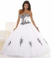 Giá rẻ Bóng Gown Wedding Dresses Thêu Màu Đen Và Trắng Tulle Corset Phụ Nữ Công Chúa Bridal Gowns Sweet 16 Dresses