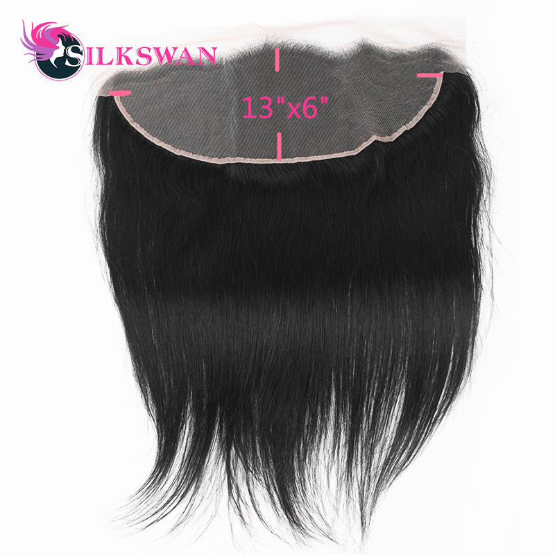 Slikswan Remy Hair Straight Lace Frontal Transparent Lace Frontal With Baby hair Pre plucked 13 6
