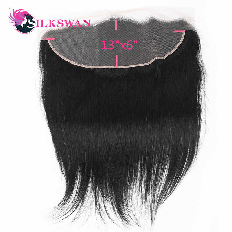 Slikswan Remy Hair Straight Lace Frontal Transparent Lace Frontal With Baby hair Pre-plucked 13*6 Ear To Ear closure Film Lace