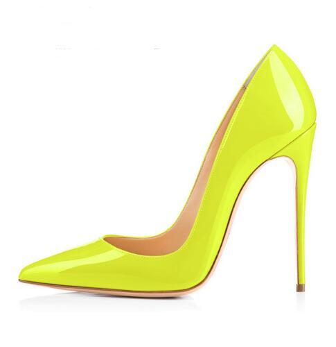 Sexy Pointed toe Yellow Patent Leather High Heel Shoes Woman Pumps Slip-on Stiletto Heels Thin heels Shoes Party Wedding Shoes woman rose red suede high heels sexy pumps gold side metal thin heel wedding dress shoes pointed toe slip on female shoes
