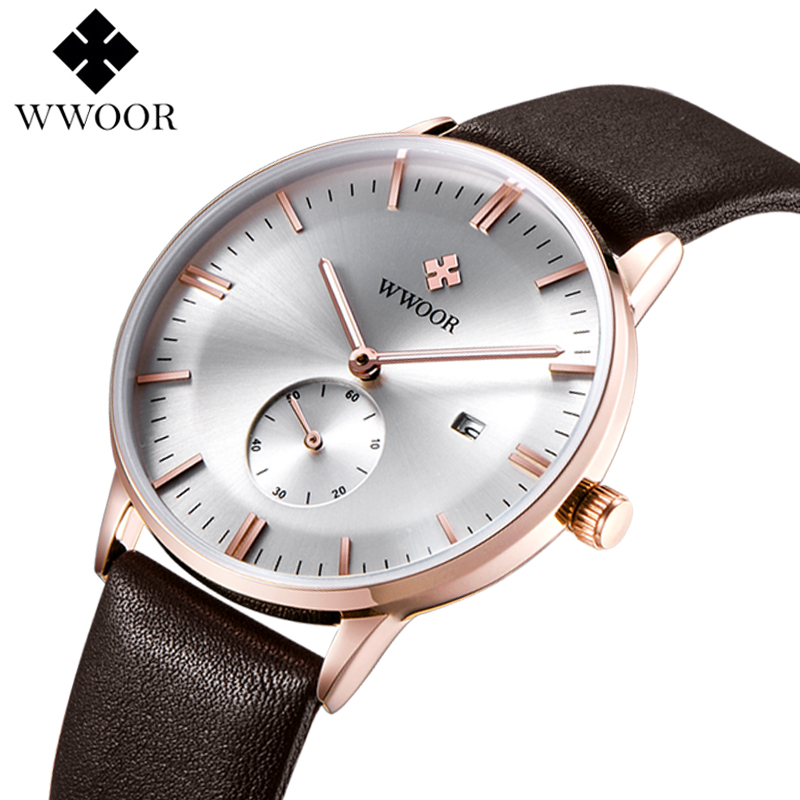 Luxury Watch Men WWOOR Top Famous Brand Leather Strap Mens Casual Waterproof Quartz Watches Clock Male Relogio Masculino top brand luxury men waterproof stainless steel casual gold watch men s quartz clock male sports watches wwoor relogio masculino