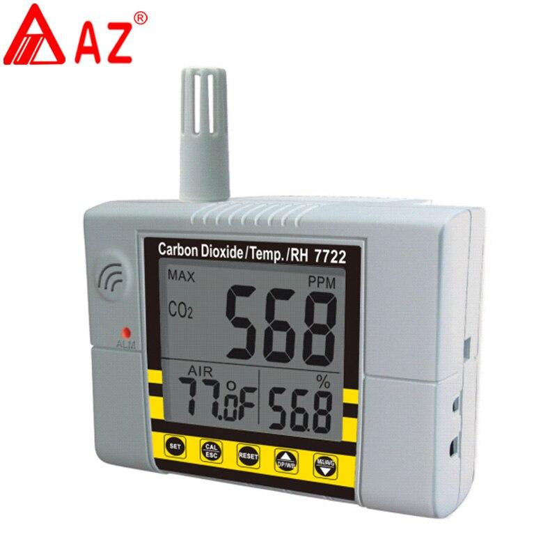 AZ7722 CO2 détecteur de gaz avec la température et humidité test avec sortie D'alarme pilote intégré système de ventilation de relais
