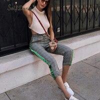 Self Duna 2018 Spring Summer Women Plaid High Waist Pants Sweatpants Female Joggers Lace Up Striped