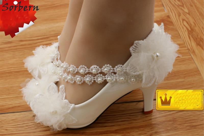 Sorbern 2018 Women Pumps Bridal Wedding Shoes Lace Applique Beads Low Heels  3Cm 4.5Cm 8Cm Bridal Shoes Ladies White Ankle Pumps-in Women s Pumps from  Shoes ... a6ae00377d8d