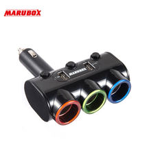12v-24v High Quality 3 Ways Car Auto Cigarette Lighter Socket Splitter Power Adapter 3.1A 20W + Dual USB Charger(China)