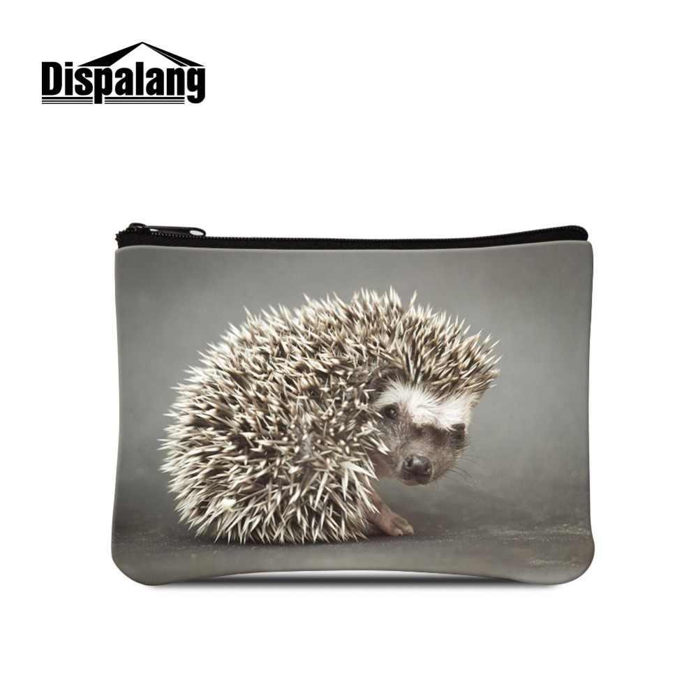 Dispalang bonito animal ouriço logotipo na carteira mini bolsa de maquiagem crianças mudança lona moeda bolsa para mulher portátil dinheiro