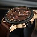 Relojes Hombres Lujo de la Marca Casual Reloj de Cuarzo Reloj de Los Hombres Relojes Deportivos de Cuero Militar de Los Hombres Reloj de Pulsera Relogio masculino 2016